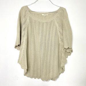 NEW LAMade Tan Crochet Knit Poncho Blouse